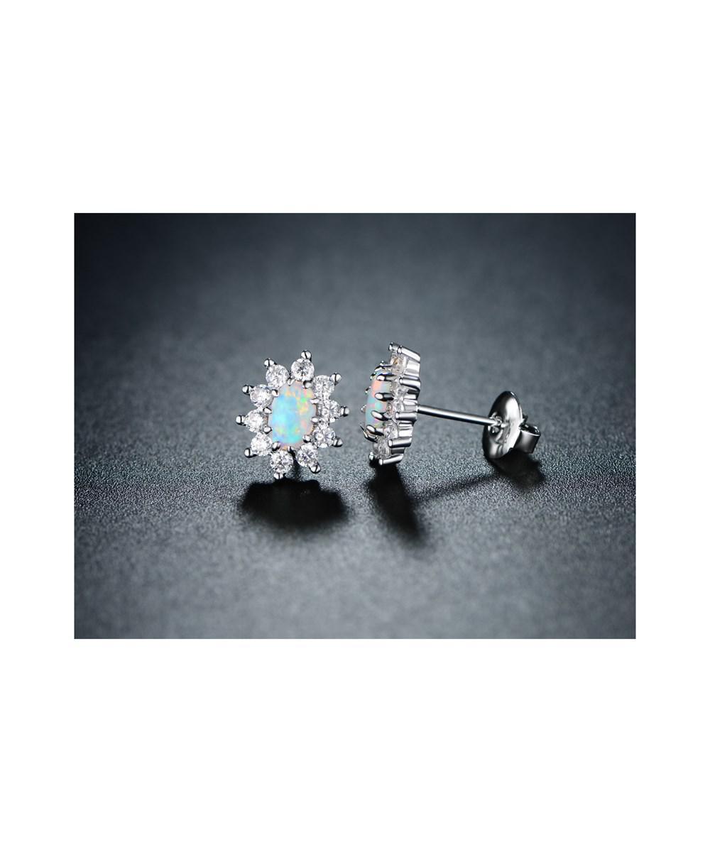 97756ec7d Peermont. Women's Metallic 18k White Gold Plated White Fire Opal & Cz  Flower Stud Earrings