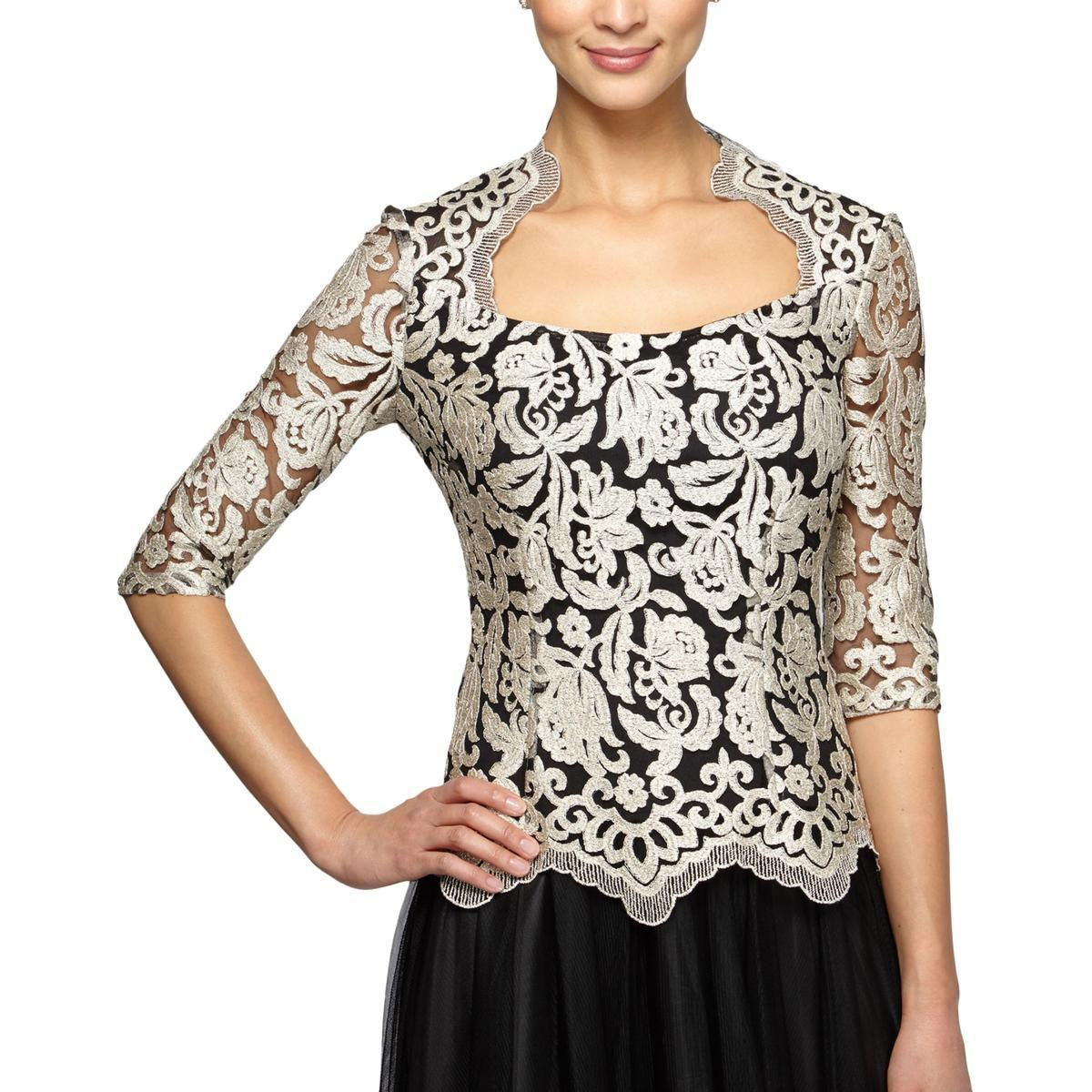 12638a3bd2fd58 Lyst - Alex Evenings Womens Embroidered Special Occasion Dress Top ...