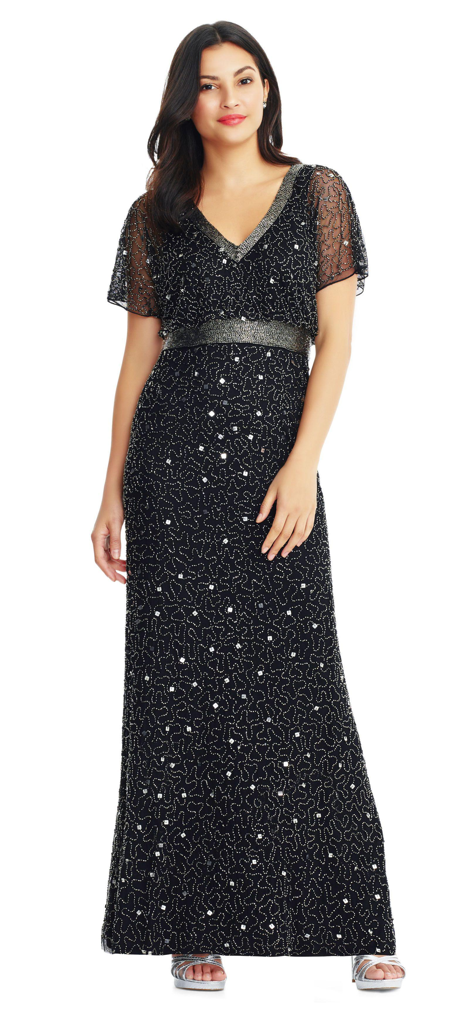 Lyst Adrianna Papell Swirl Beaded Gown Gown Beaded With Sheer Flutter Sleeves   9584cf