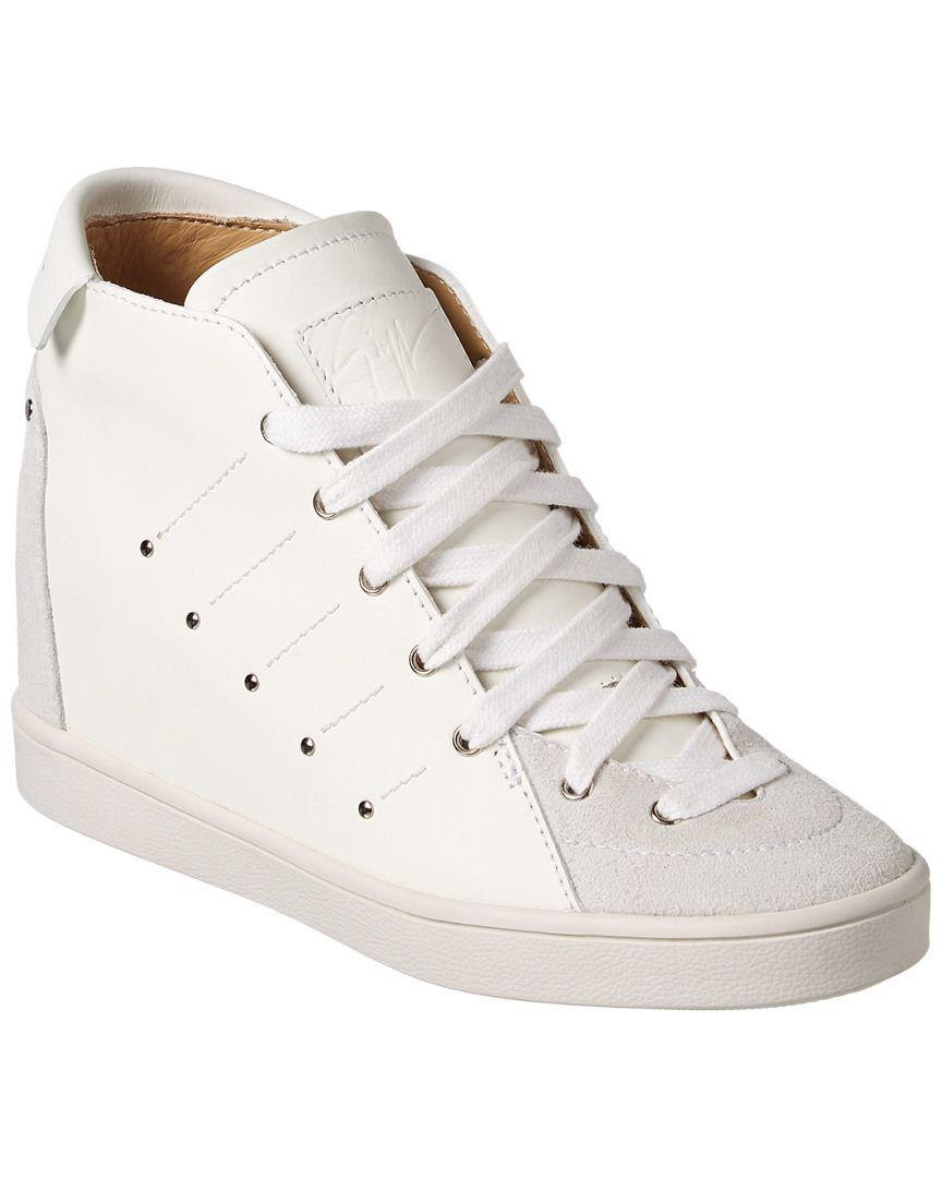 5c9d846ecf8f Lyst - Giuseppe Zanotti Leather   Suede Wedge Sneaker in White