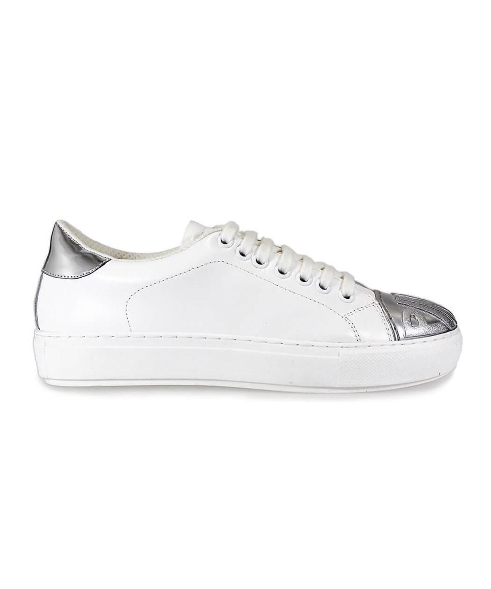 Pinko. Metallic Women's Silver/white Leather Sneakers