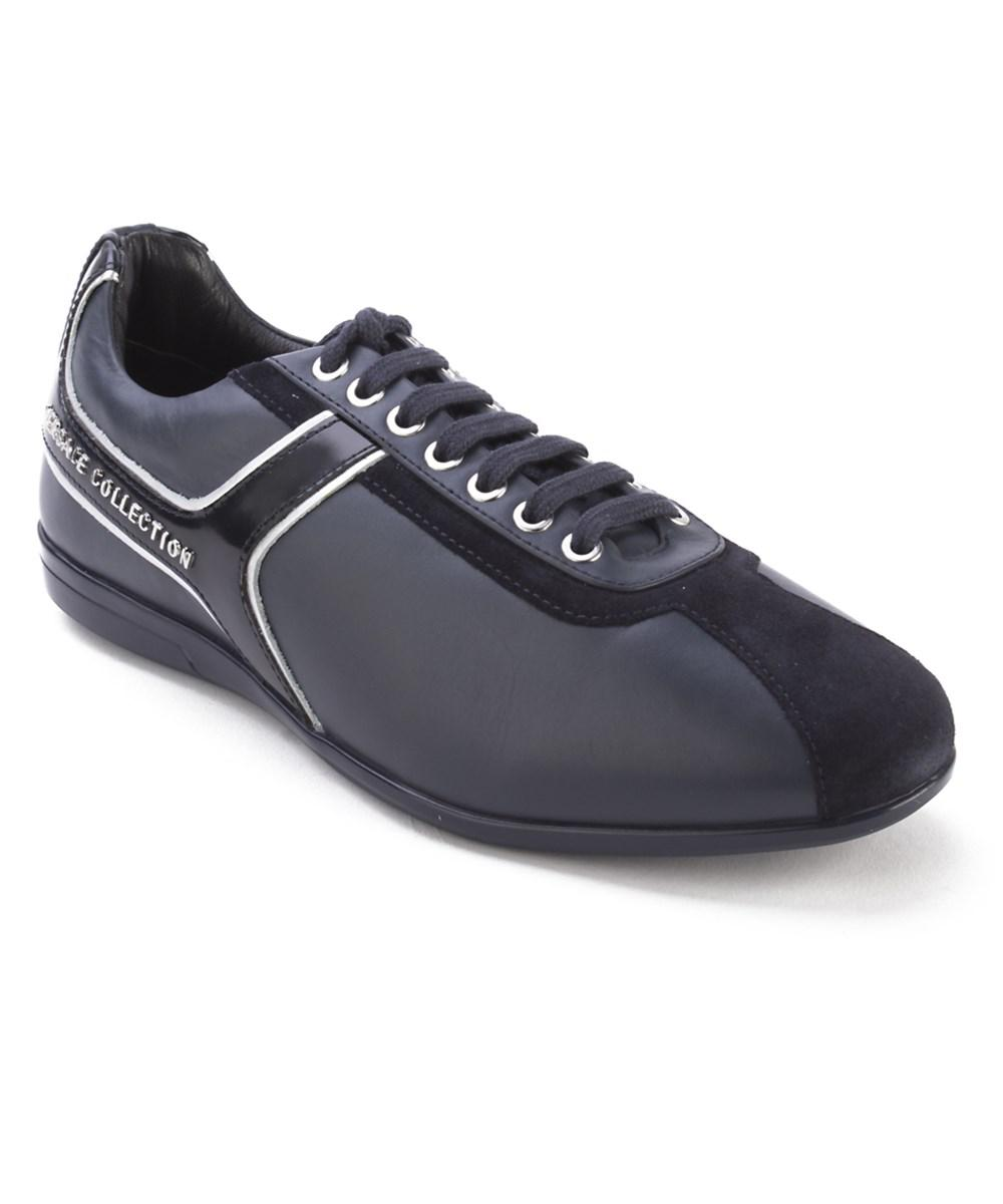 0391620626 Lyst - Versace Collection Men's Leather Low Top Sneaker Shoes Navy ...