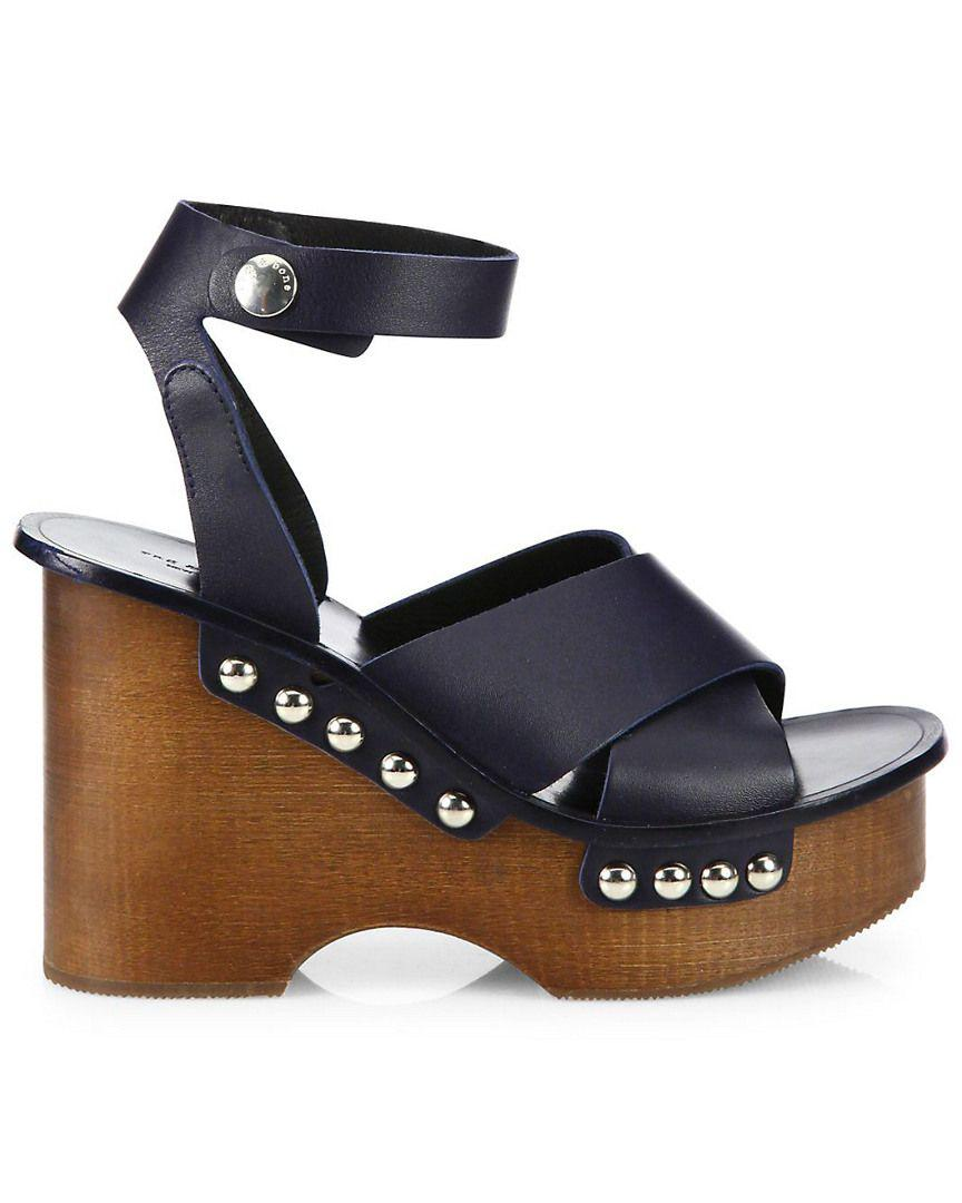 d4a395e046a Lyst - Rag   Bone Hester Leather Ankle-strap Wedge Clog Sandals in Blue -  Save 64.21052631578948%