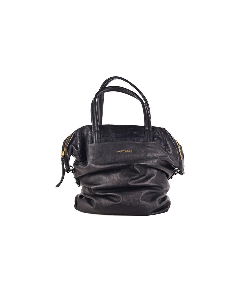 Lyst - Roberto Cavalli Large Black Grain Nappa Leather Croc Embossed ... bc2f28d70dcd9