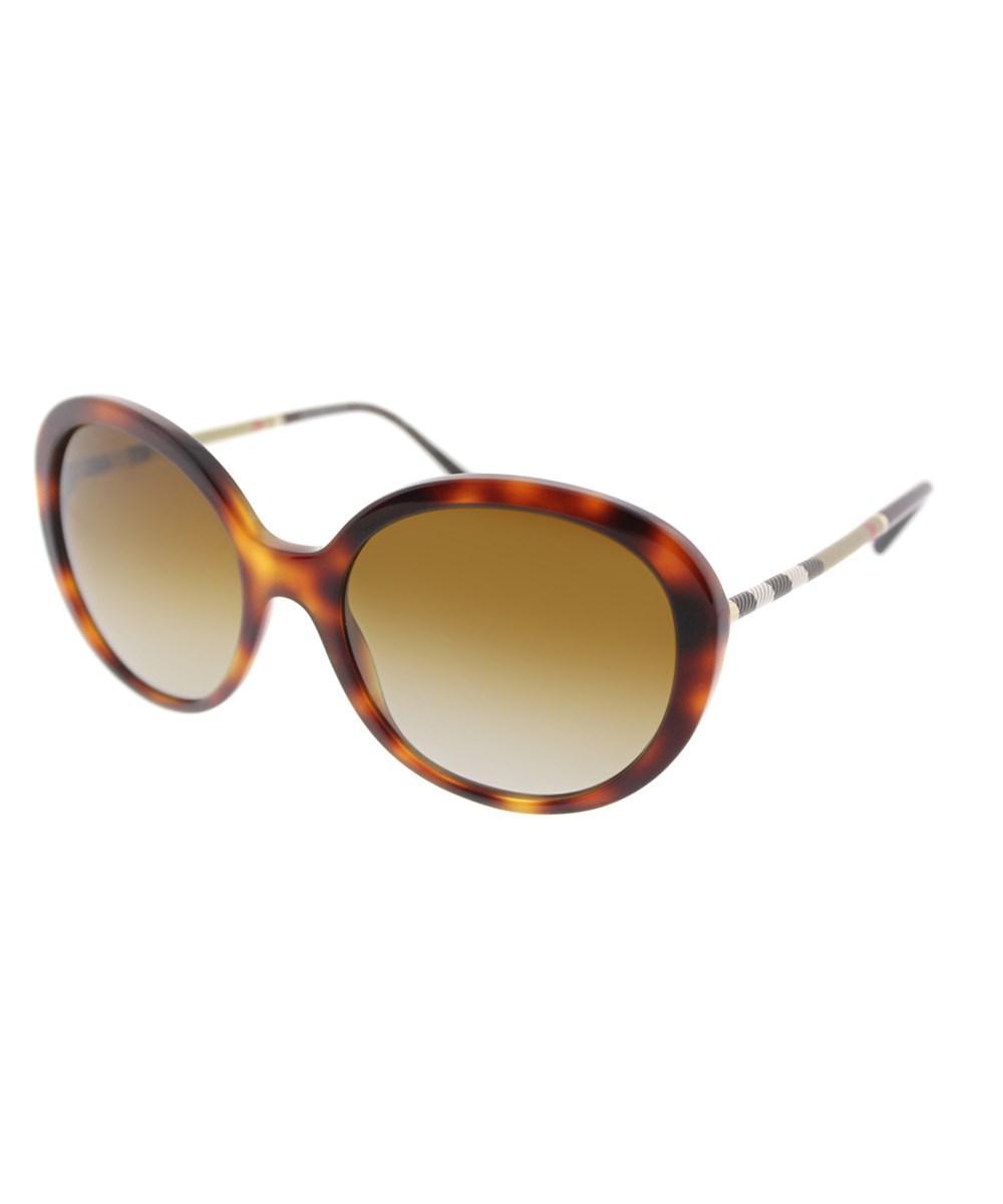 9c7b67ec6b Lyst - Burberry Be 4239q 3316t5 Light Havana Round Sunglasses in Brown