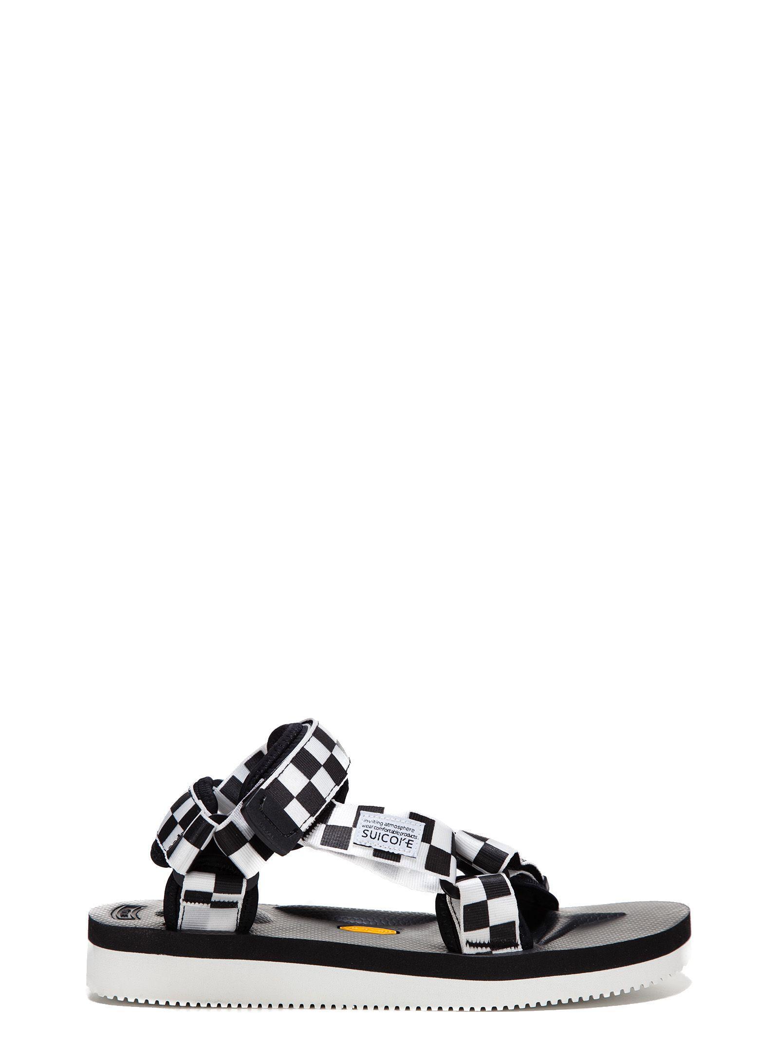 f5548653a3d0 Lyst - Suicoke Men s White black Fabric Sandals in Black for Men