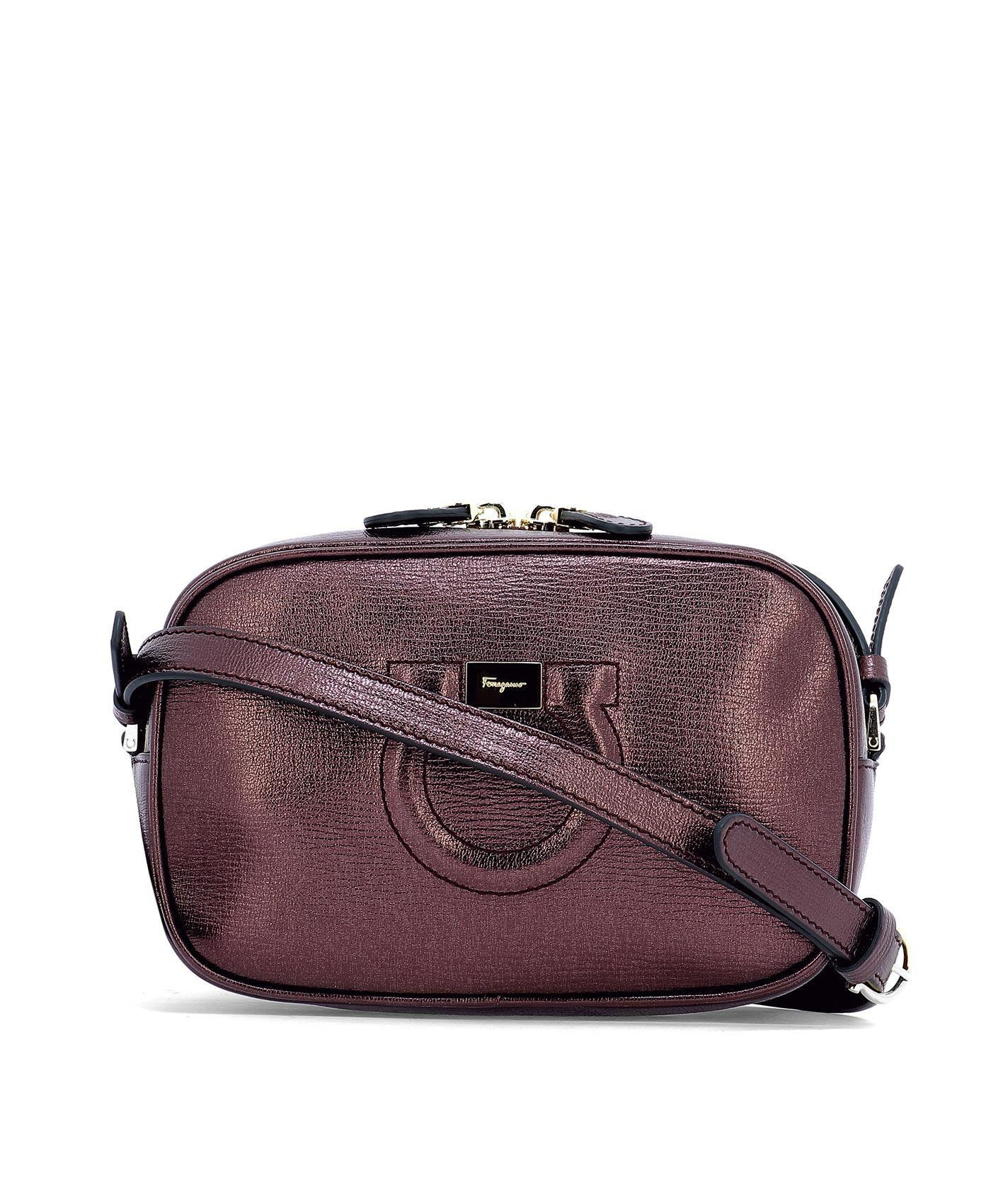 Lyst - Ferragamo Women s Purple Leather Shoulder Bag in Purple ca6d3dfd15f23