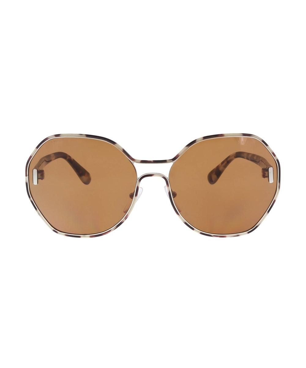 61f37c4e32 ... cheap lyst prada pr 53ts uao6n0 silver havana square sunglasses in  metallic 92793 73a82