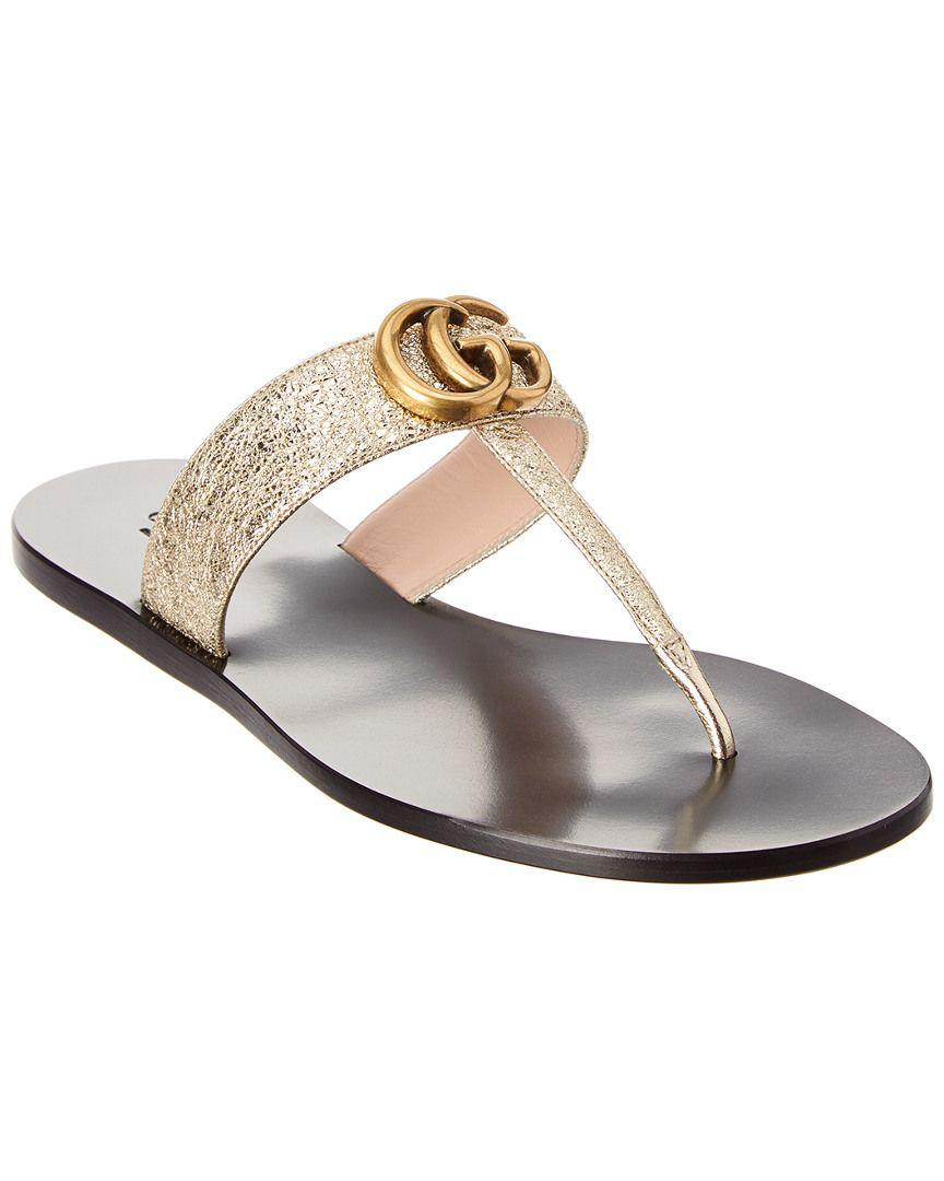 c1542d72a0ae Gucci. Women s Double G Leather Thong Sandal ...