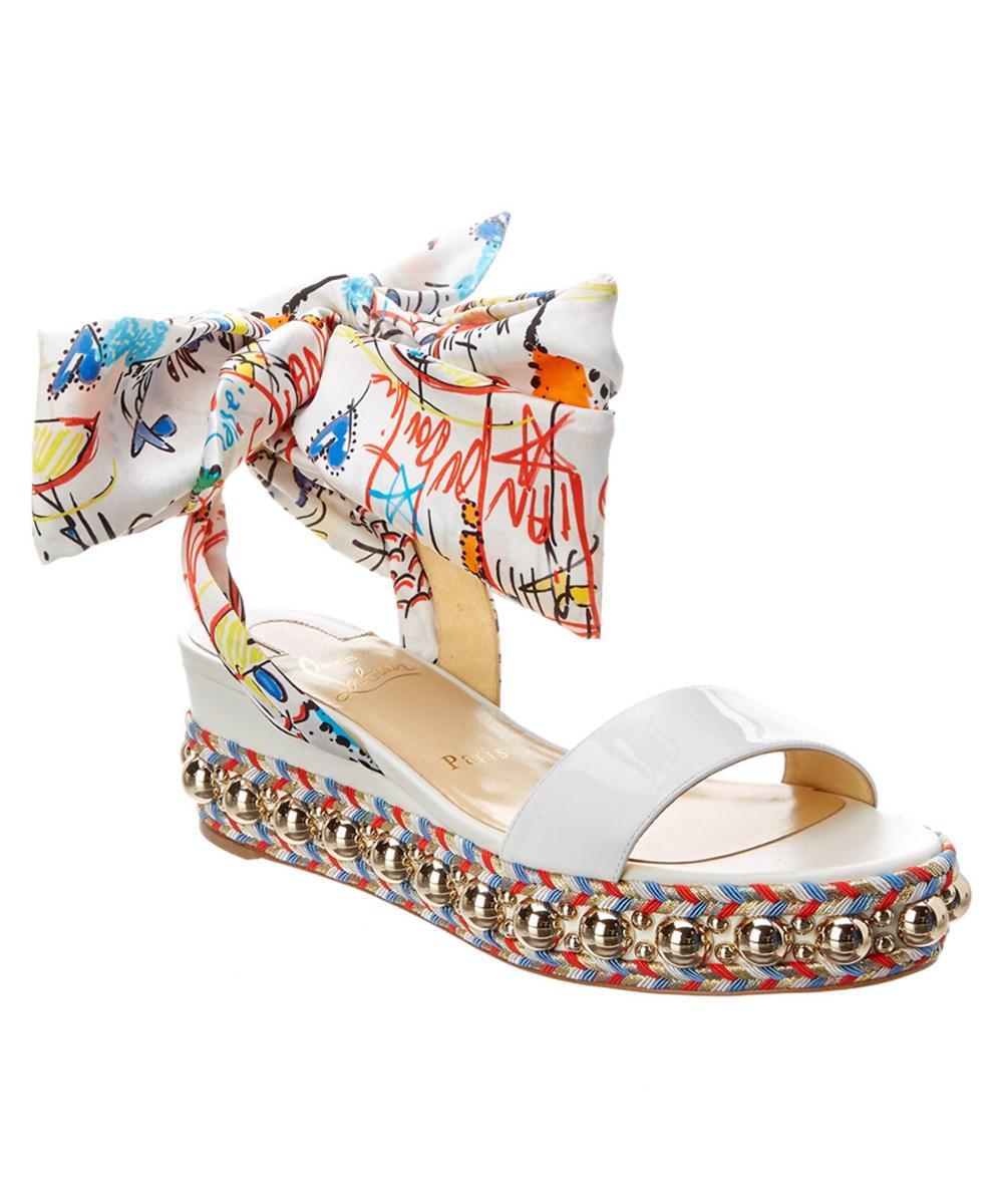 Christian Louboutin Women's Pyraclou Studded Platform Wedge Sandal PhyH0uxB