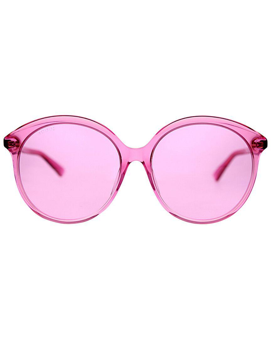 b216ed29cf28d Lyst - Gucci Women s Round 59mm Sunglasses in Pink