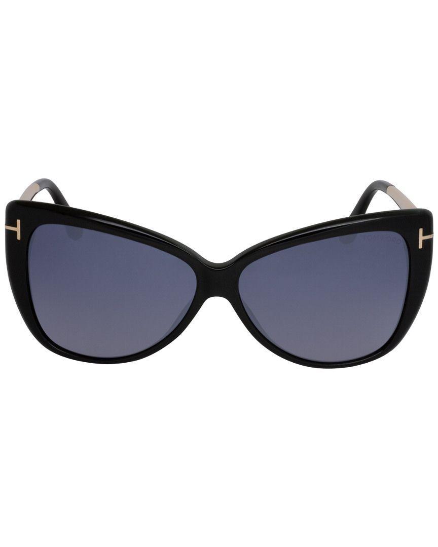 f14fdb07a5d0a Lyst - Tom Ford Ft0512 Cat Eye Women Sunglasses Shiny Black   Smoke ...