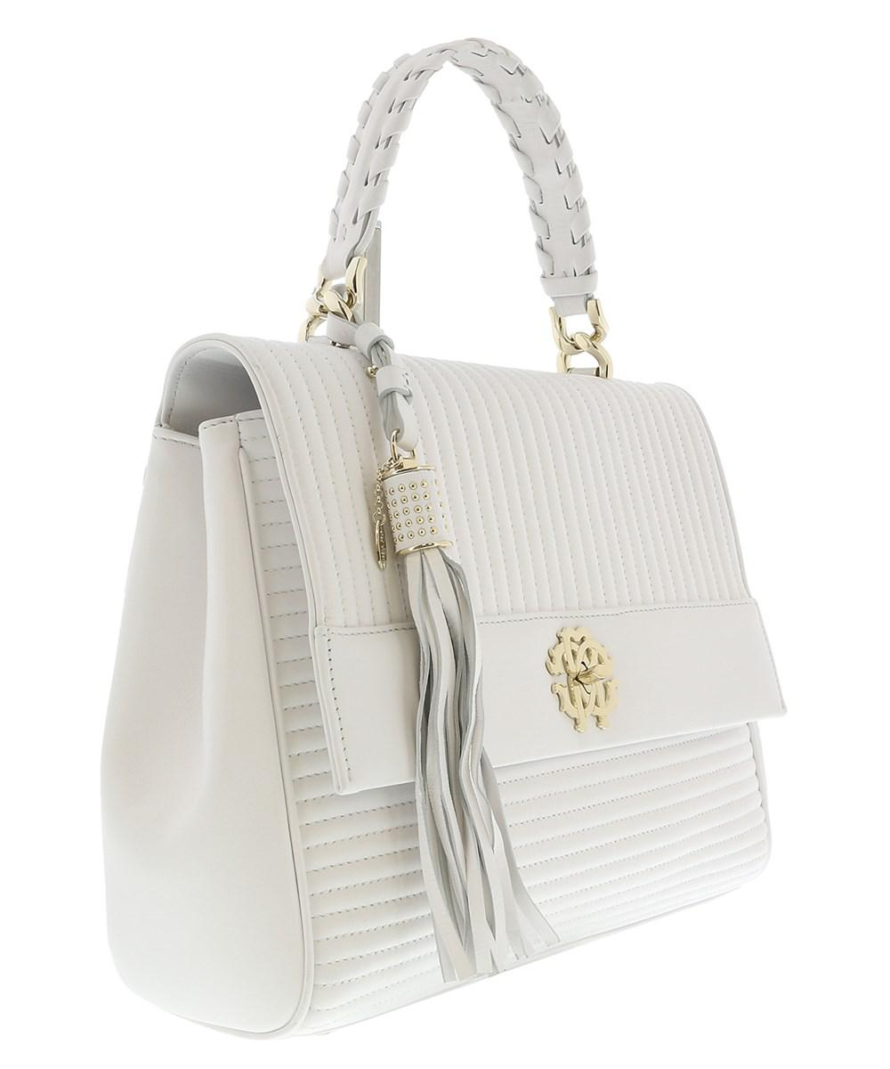 8a0667433bd Lyst - Roberto Cavalli White Quilted Leather Top Handel Bag in White