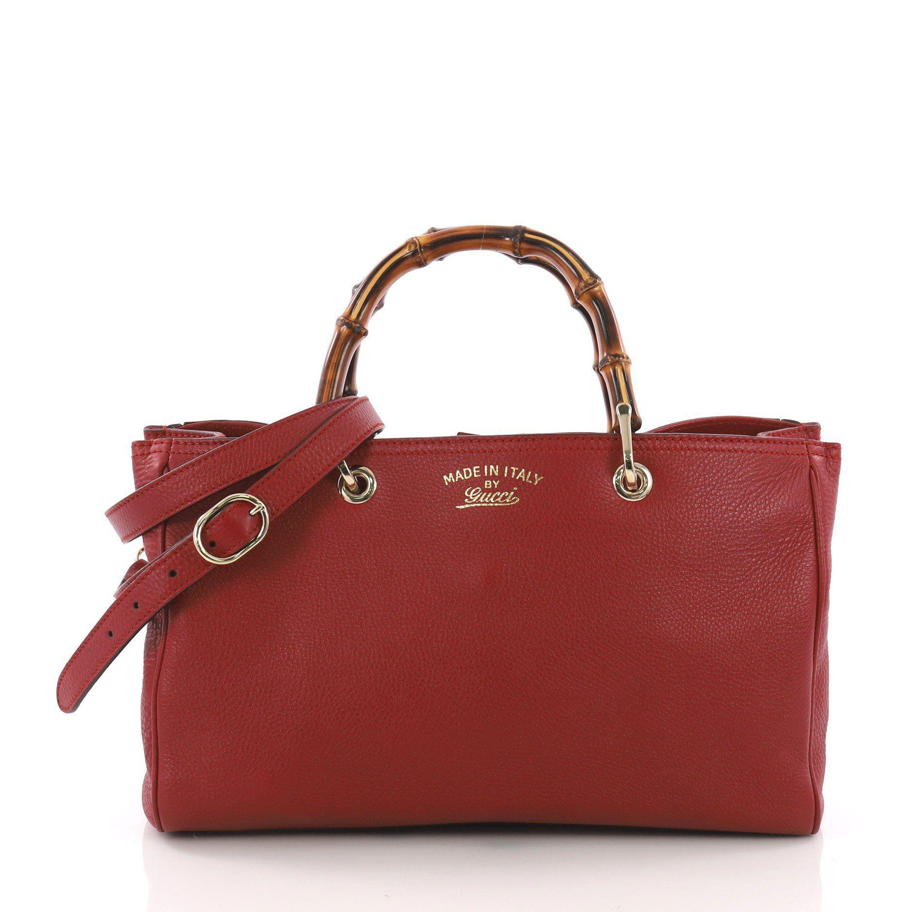 eea1939fc128 Lyst - Gucci Pre Owned Bamboo Shopper Boston Bag Leather Medium in Red