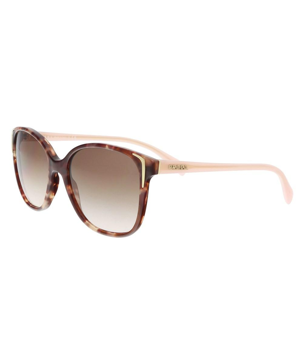 10eb790dcb95 ... uk prada pr01os ue00a6 spotted brown pink square sunglasses in brown  lyst 6ed07 2bbd7