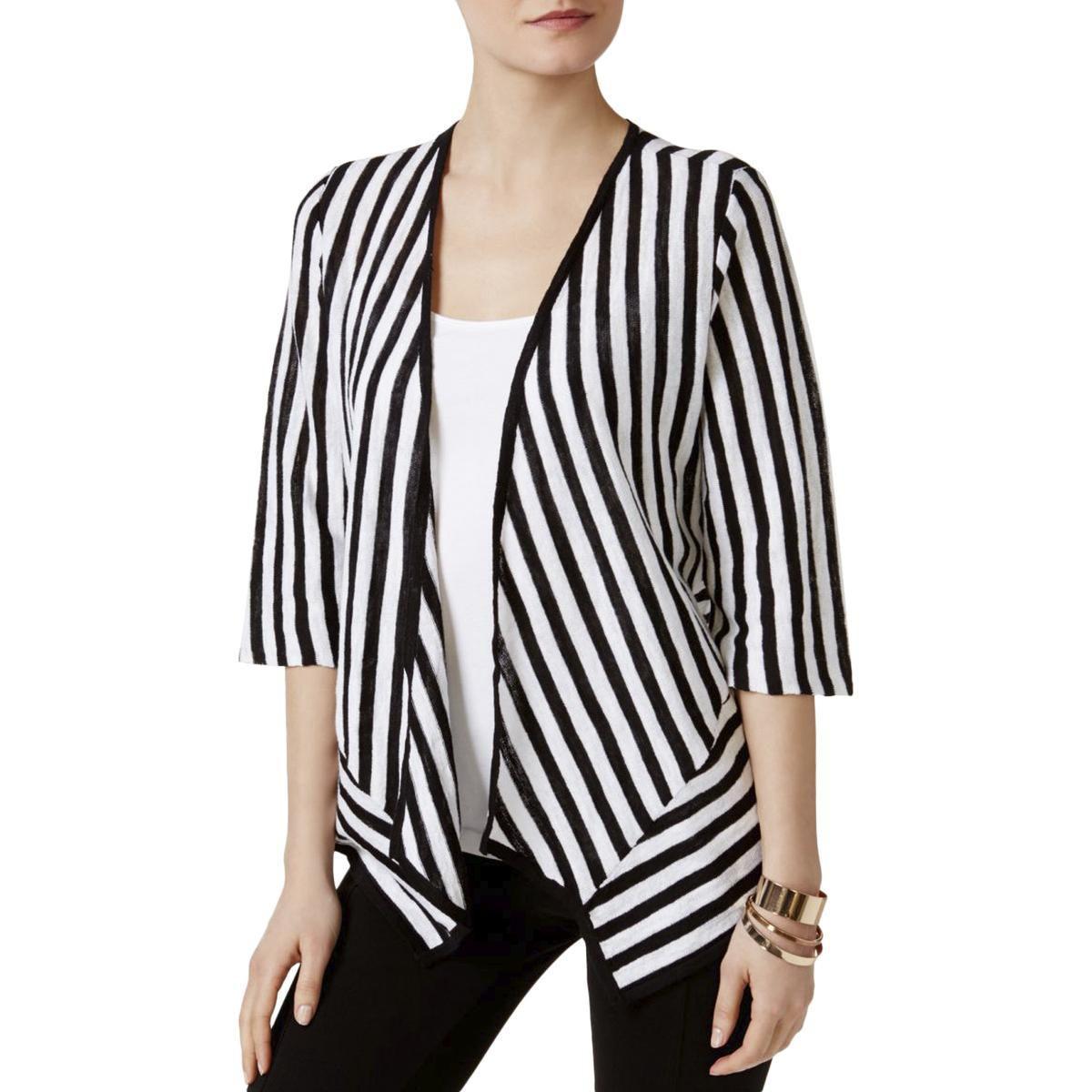 2730c336590804 Lyst - Alfani Womens Linen Striped Cardigan Top in Black