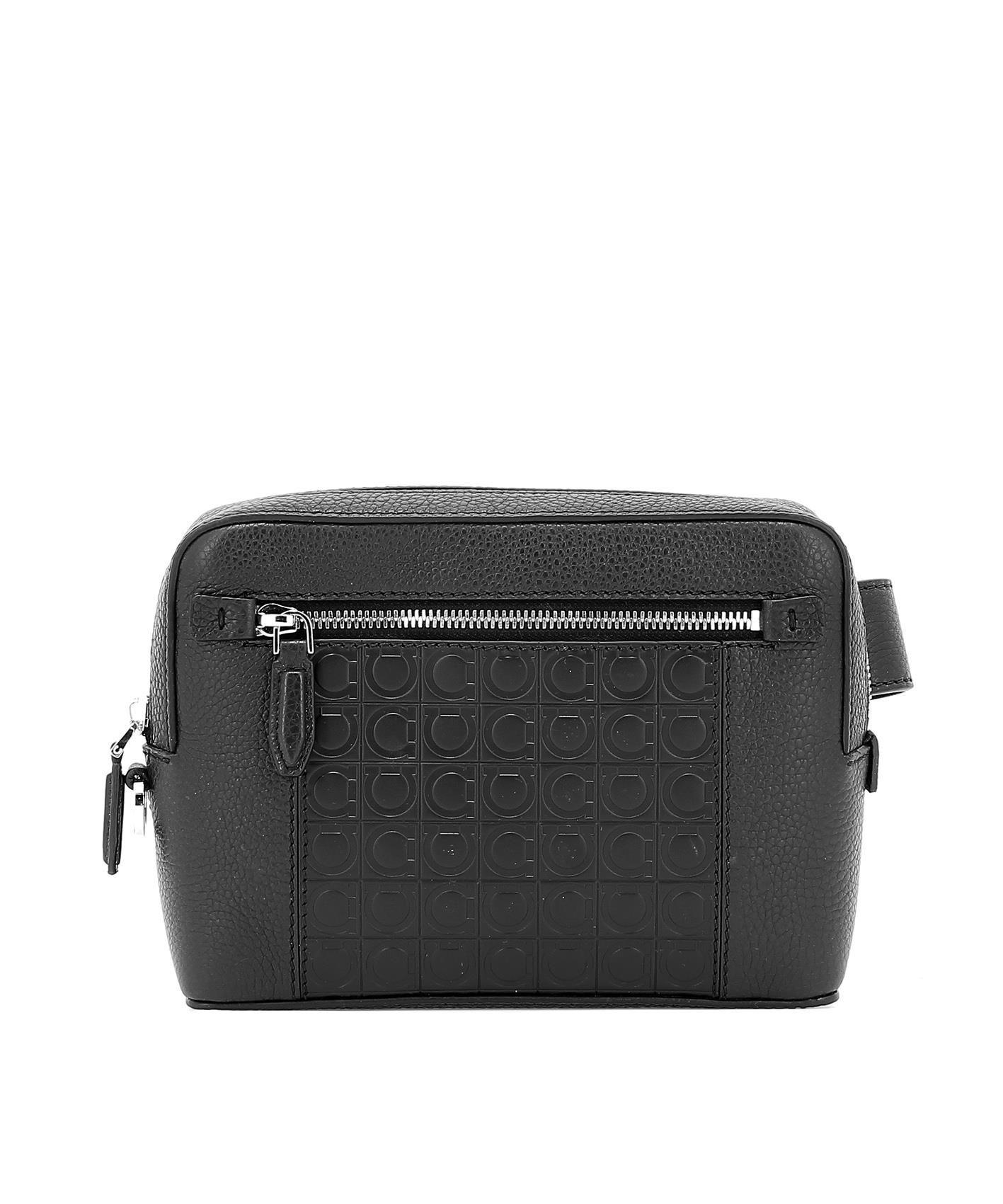 Lyst - Ferragamo Men s Black Leather Travel Bag in Black for Men c9ea2f96be2a8