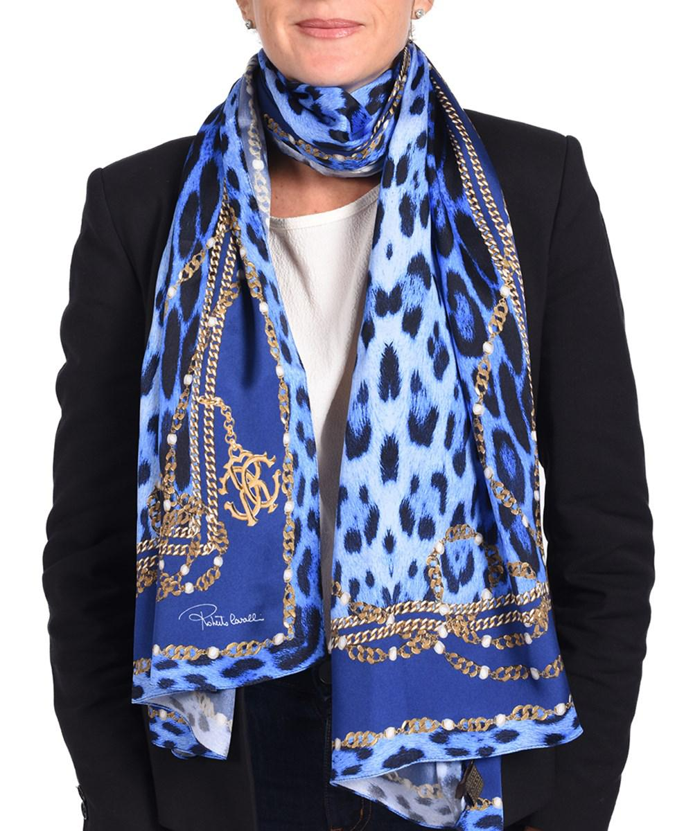 Roberto Cavalli Woman Printed Cotton And Silk-blend Scarf Blue Size Roberto Cavalli Jc8ZelWC9