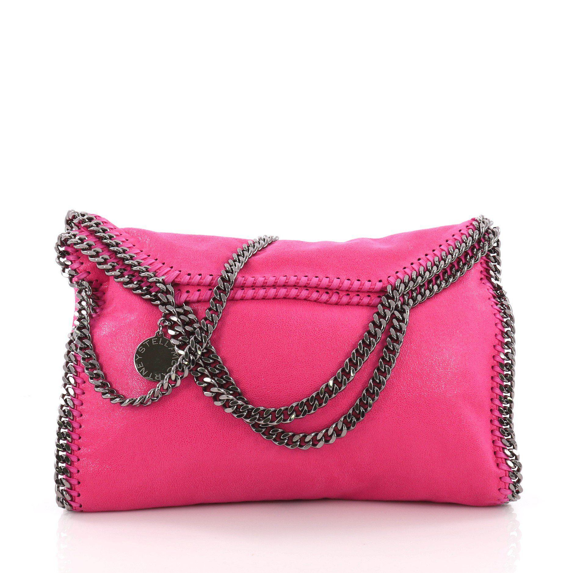Stella McCartney. Women s Pink Pre Owned Falabella Fold Over Bag Shaggy Deer 07a696360eec8