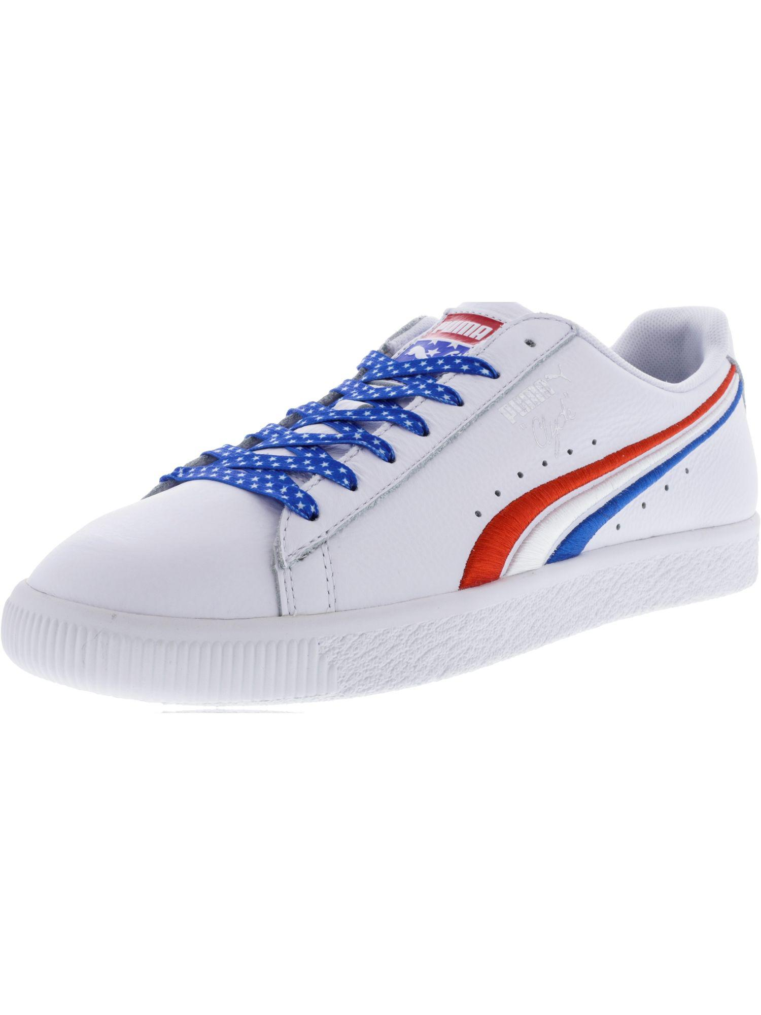 hot sale online 5b9a6 ff73f PUMA. White Men s Clyde 4th Of July Ankle-high Leather Fashion Sneaker