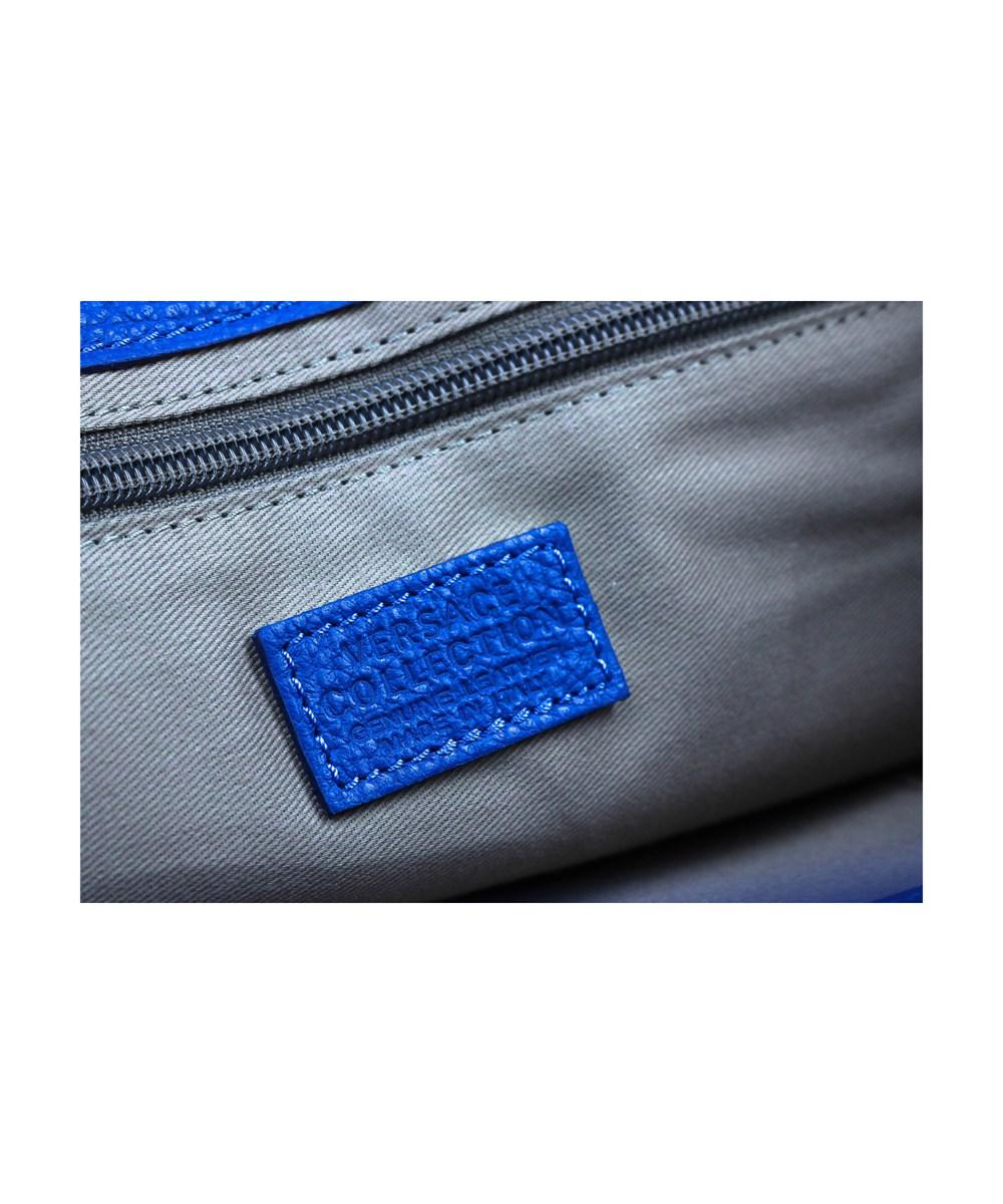 Lyst - Versace Collection Solid Blue Large Pebbled Leather Arrow ... 9df42e4aab