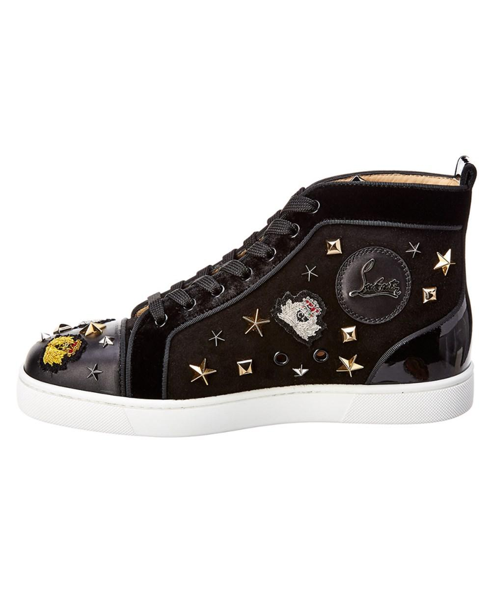 662dfd66fb0a ... closeout lyst christian louboutin printed hightop velvet suede sneaker  in black for men save 4.841269841269835 f8430