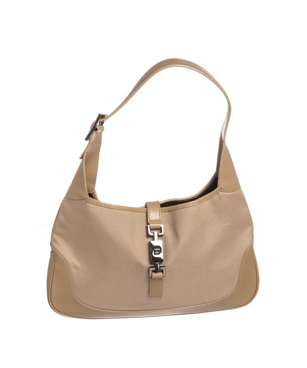 62033a866d25 Gucci. Women s Natural Beige Canvas Leather Trimmed Jackie Hobo Shoulder Bag