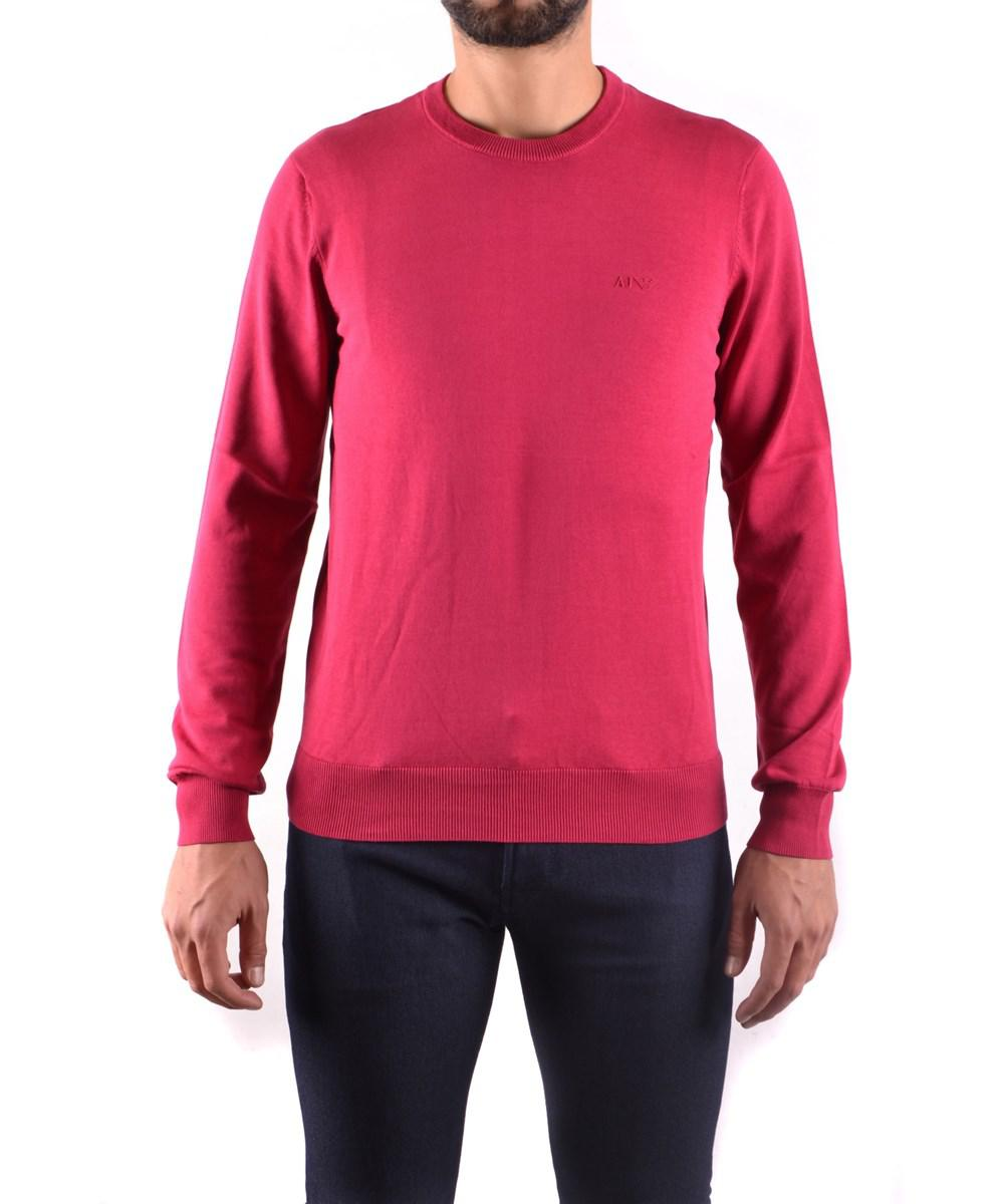 Armani jeans Men's Red Cotton Sweater in Red for Men | Lyst