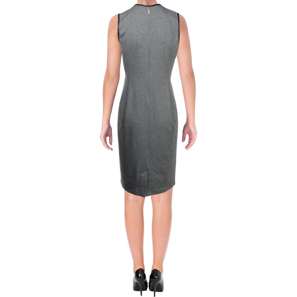 7c82875de59b21 ... Womens Herringbone Faux Leather Trim Wear To Work Dress -. View  fullscreen
