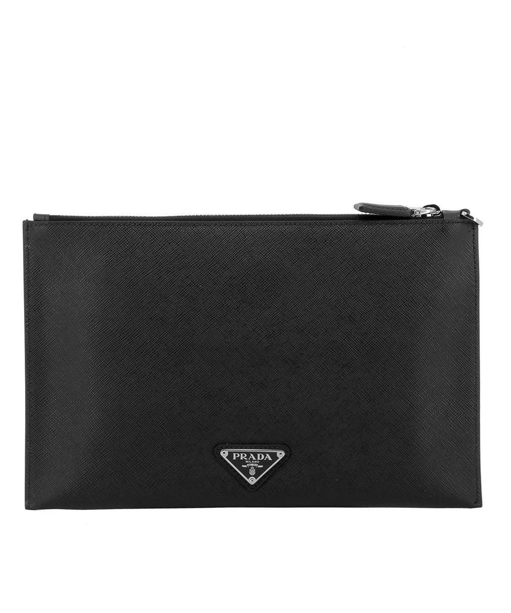 74ec96caa639 Lyst - Prada Men's 2ng0052b24f014b Black Leather Clutch in Black