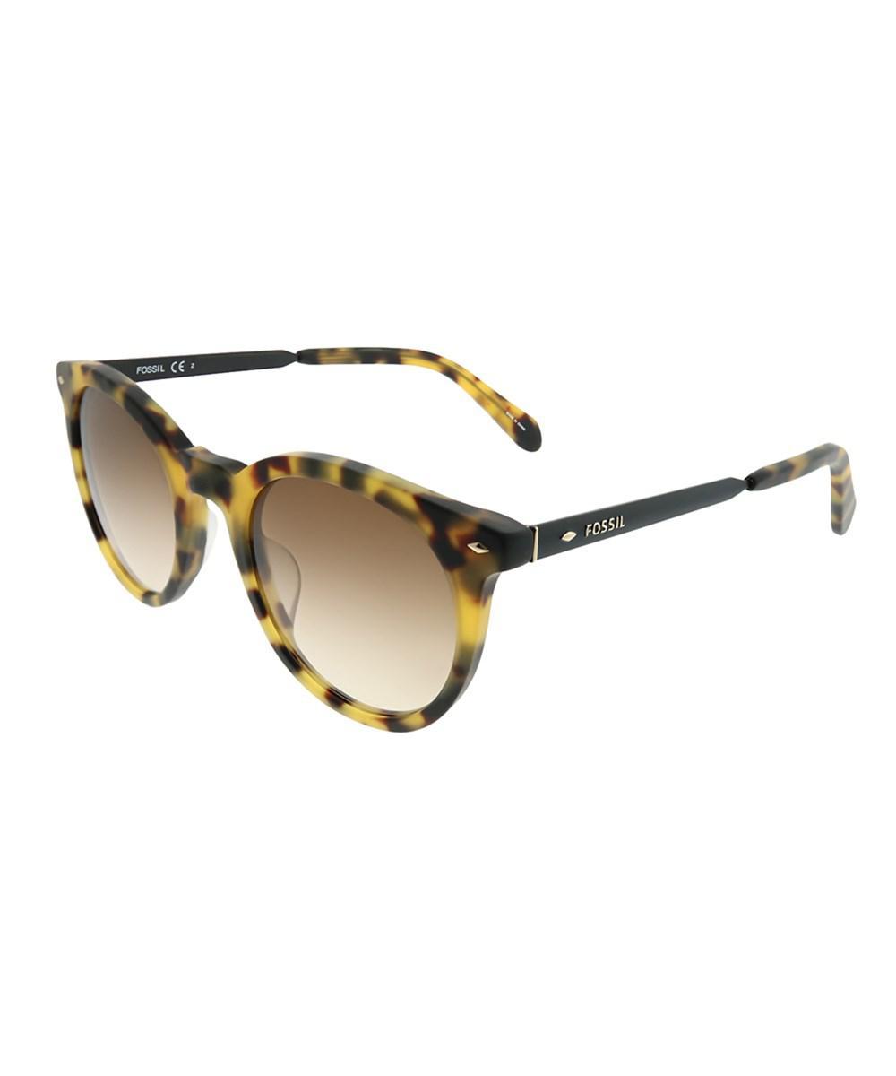 e430affe48 Lyst - Fossil Fo 2053 s 0bb S8 Havana Black Round Sunglasses in Black