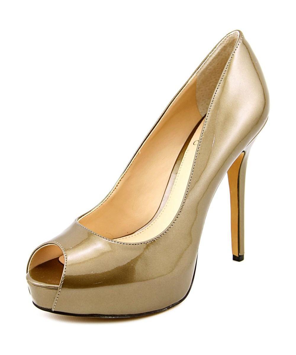 38ad46a2bb50 Lyst - Vince Camuto Lorimina Open Toe Patent Leather Platform Heel ...
