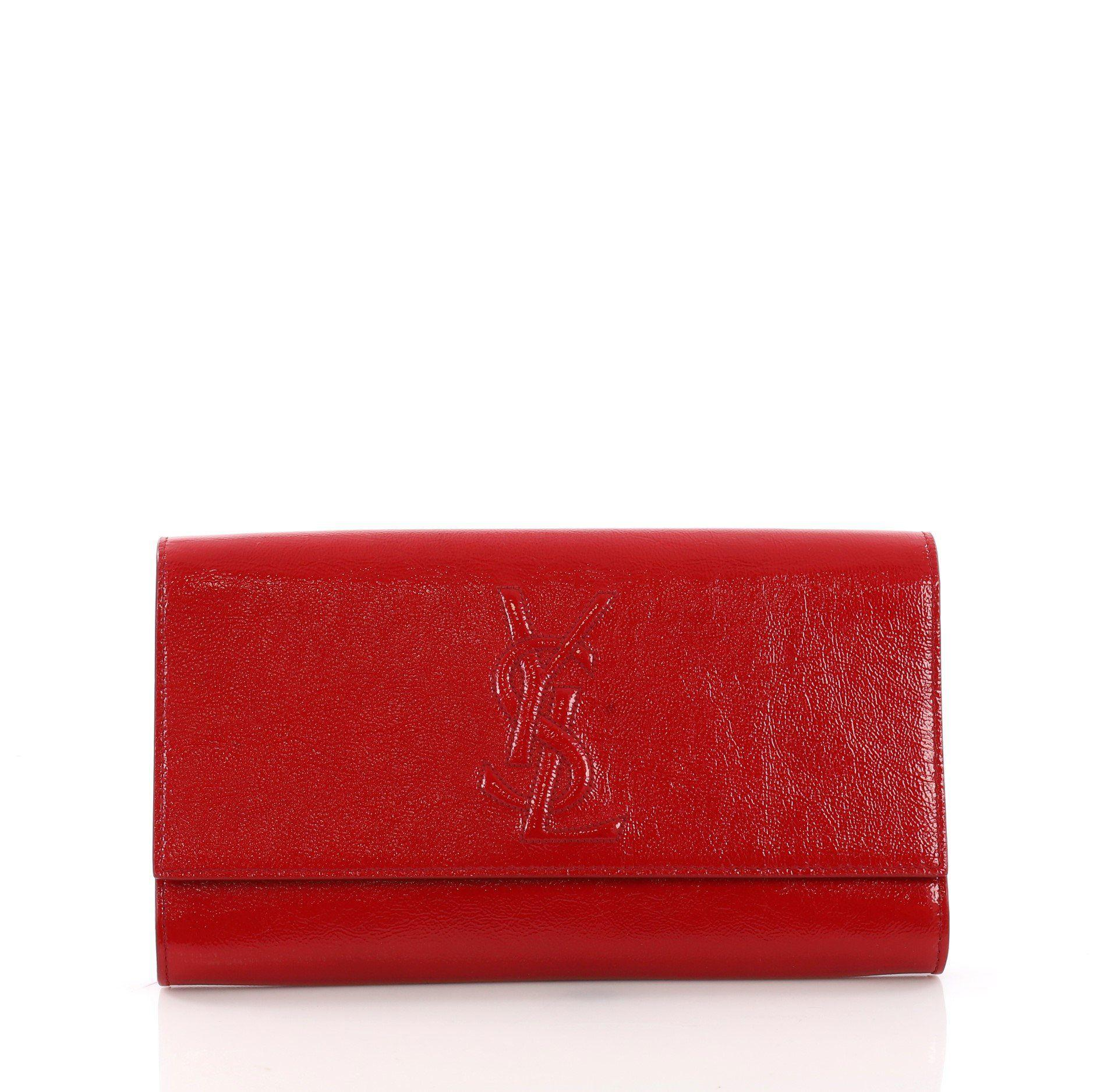 f661ddbe0d5d Lyst - Saint Laurent Pre Owned Belle De Jour Clutch Leather Small in Red