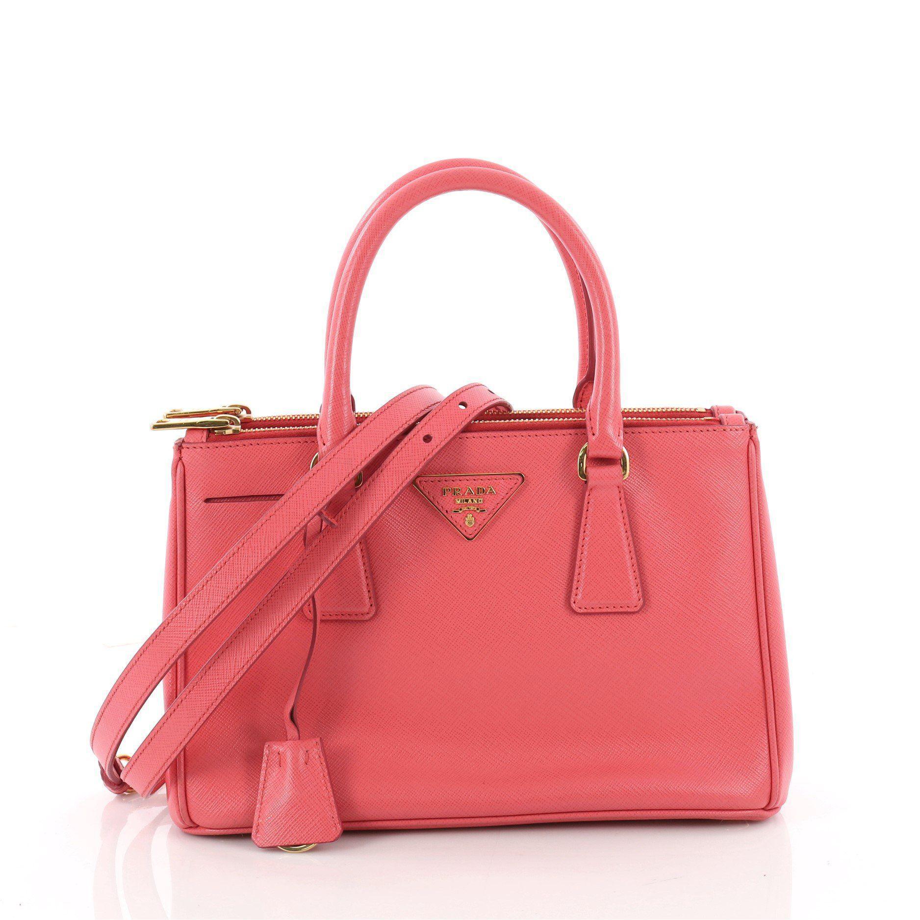 Lyst - Prada Double Zip Lux Tote Saffiano Leather Mini in Pink e55dc12a13941