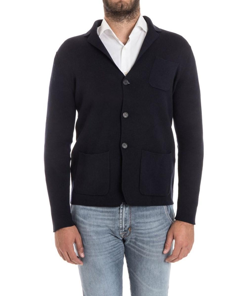 Drumohr Men's Blue Wool Cardigan in Blue for Men | Lyst