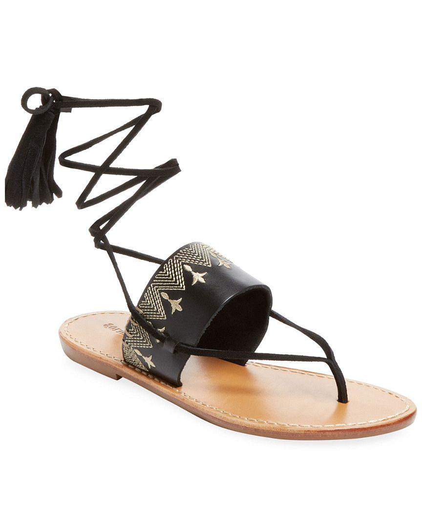 b1e635ce9d36 Lyst - Soludos Embroidered Leather Lace-up Sandal in Black - Save ...