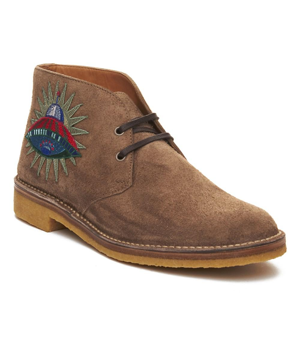 3c848df264a Gucci Men s Suede Embroidered Boot Shoes Brown in Black for Men - Lyst