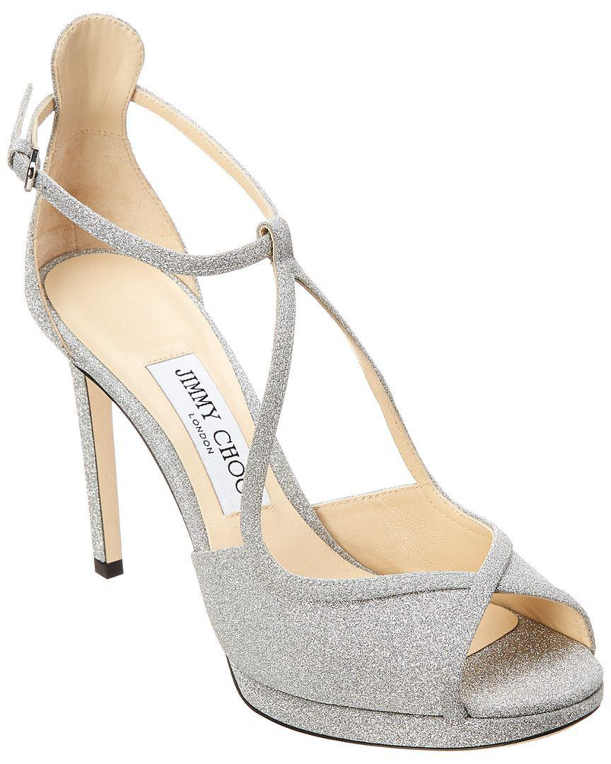 d22a26362a2 Jimmy Choo. Women s Fawne 100 Glitter Leather Platform Sandal