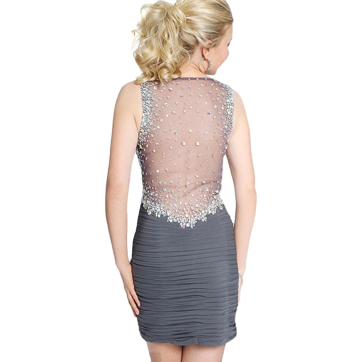 5d812128c8 JVN By Jovani - Gray Womens Embellished Pleated Semi-formal Dress - Lyst.  View fullscreen
