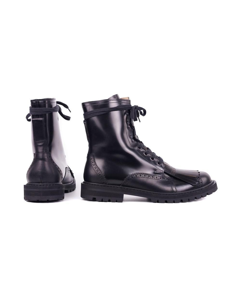 e4f6b9659364 Dries Van Noten Mens Black Fringed Brogue Combat Boots in Black for ...