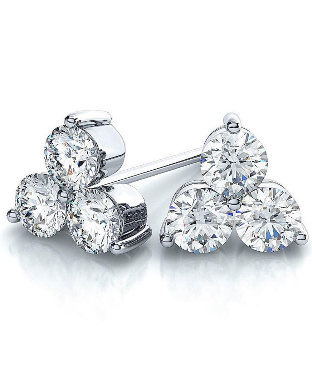 Suzy Levian Women S 14k White Gold 3 Stone Diamond Cer 2 5ct Tdw Stud Earrings