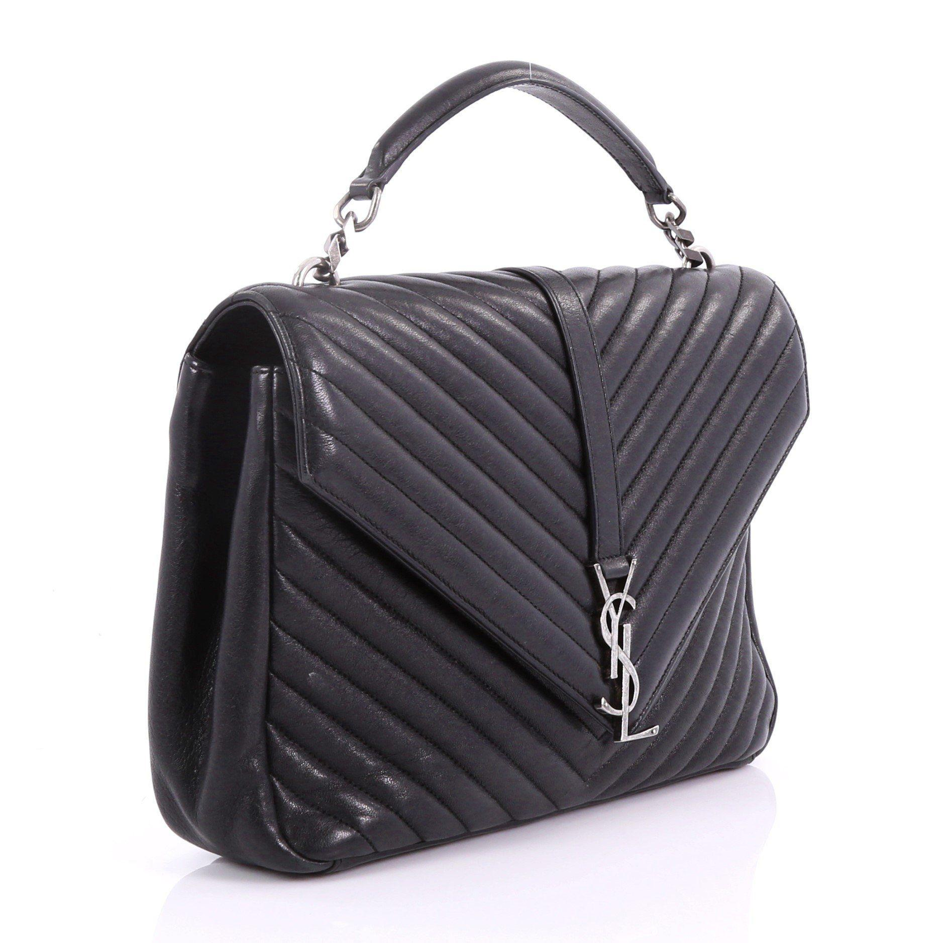 d5e8bfc90ecd Saint Laurent - Black Large Collège Monogram Shoulder Bag - Lyst. View  fullscreen