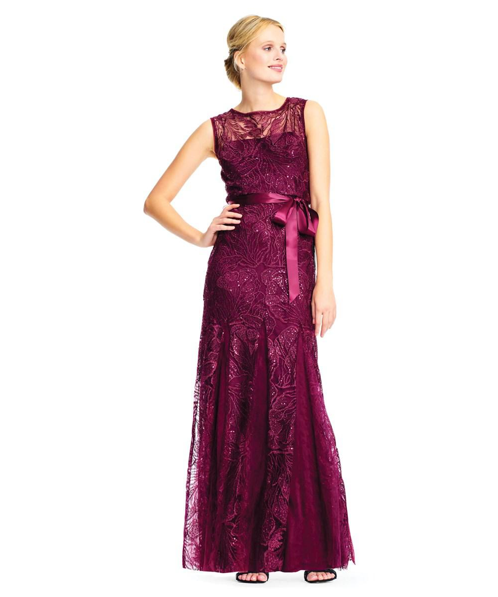 Lyst - Adrianna Papell Sequin Lace Embroidered Gown in Purple - Save 62%