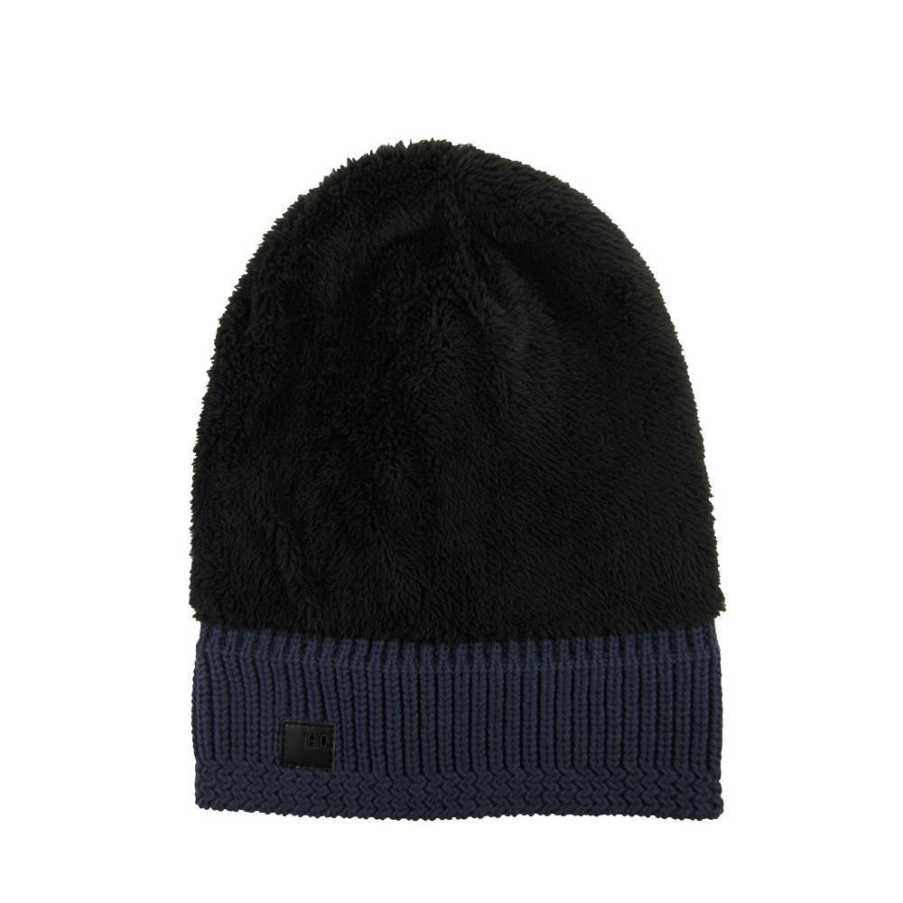 6b4620b2d6a Dibi - Blue Navy Cable Knit Fur Lined Beanie for Men - Lyst. View fullscreen