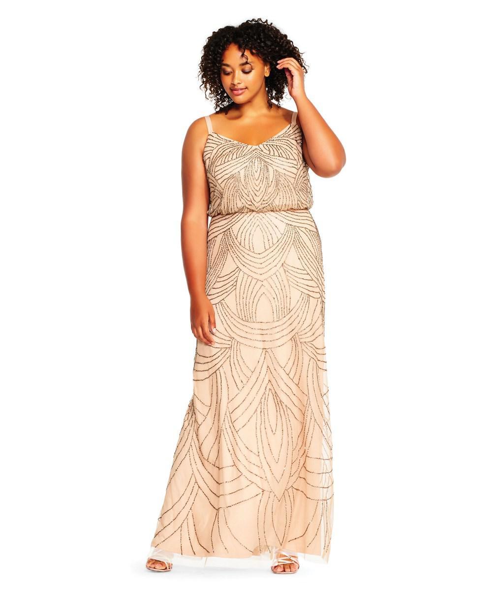 Sleeveless Beaded Blouson Gown With Illusion Details   Lauren Goss