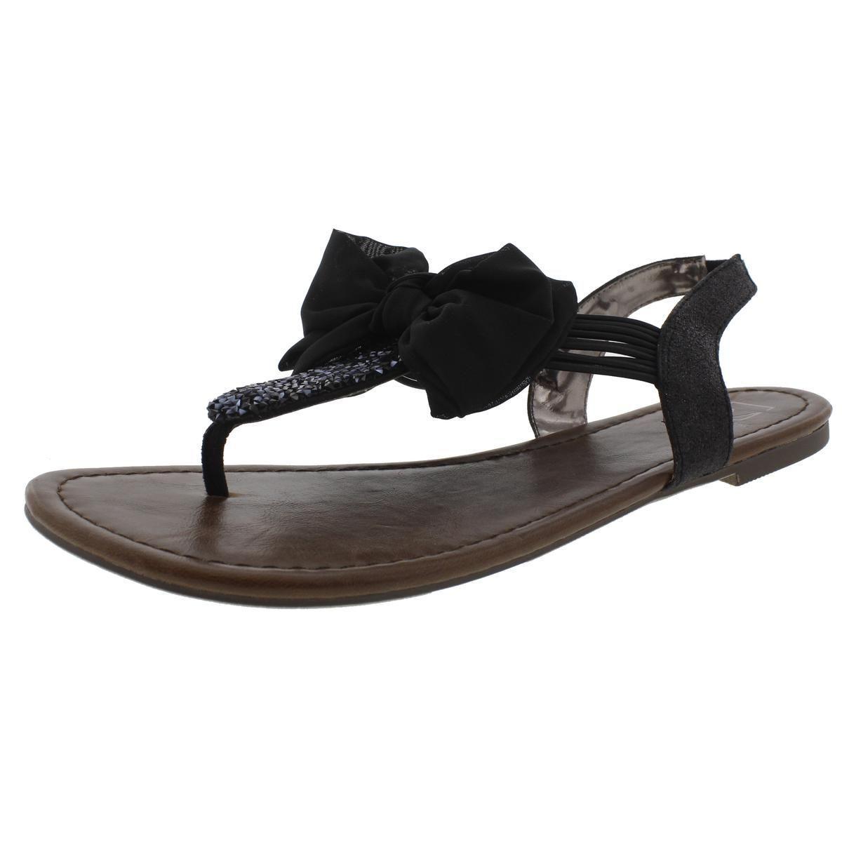 32a2fcbd5d43 Lyst - Material Girl Womens Swan Glitter Bow Thong Sandals in Black