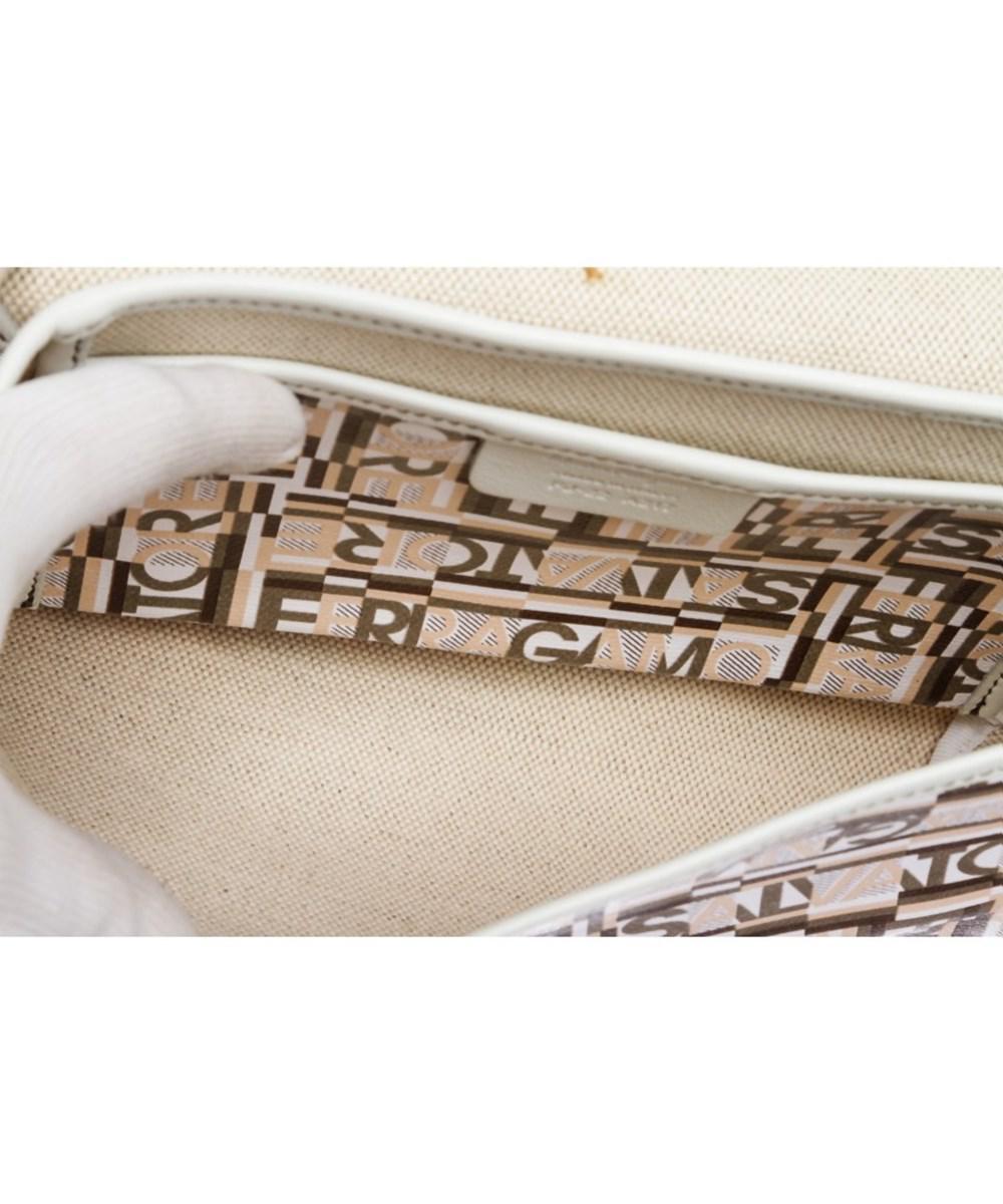 24bff63b4c1c Lyst - Ferragamo Pre Owned - White Multicolor Coated Canvas Small ...
