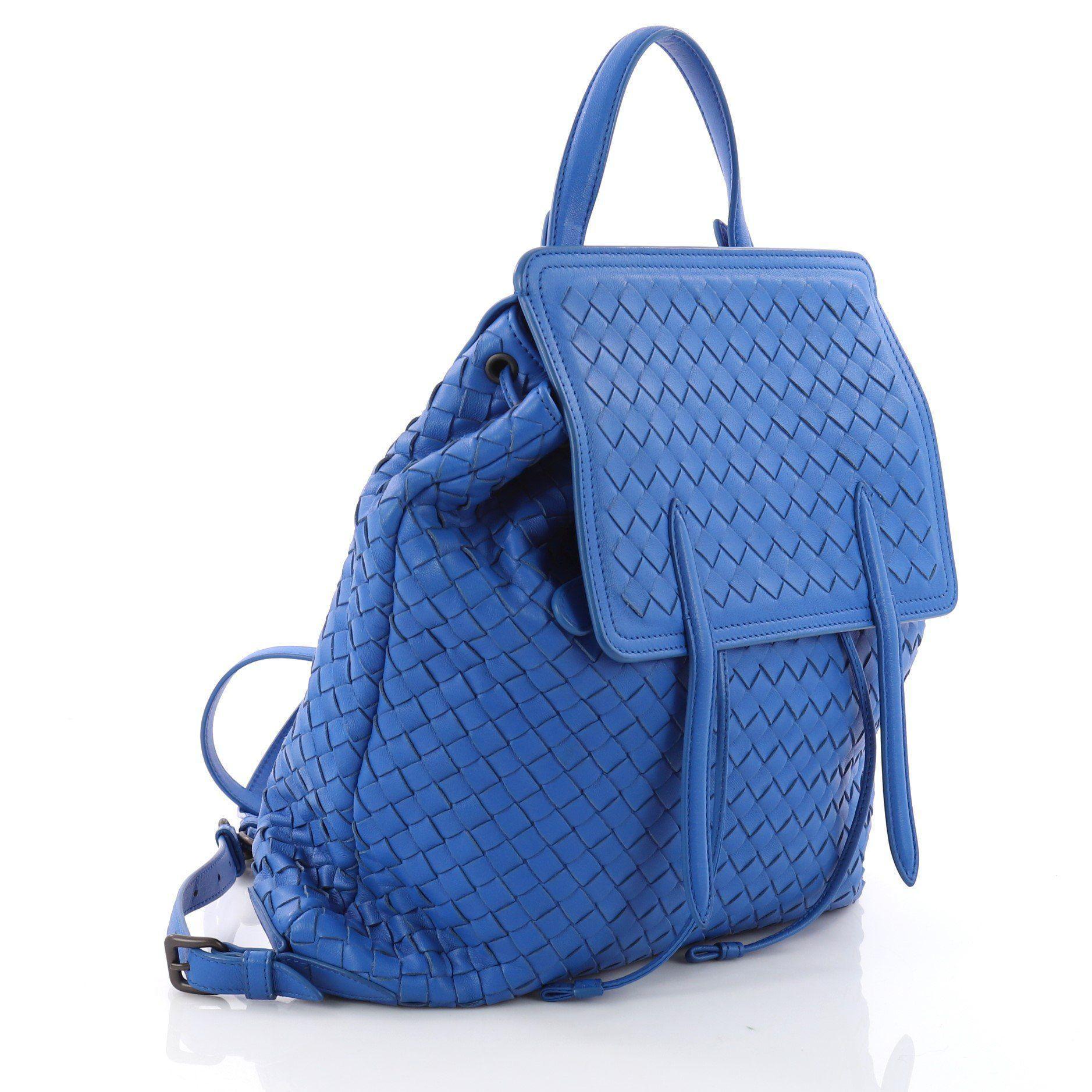 b2f5b3fefeed Bottega Veneta - Blue Pre Owned Drawstring Backpack Intrecciato Nappa Medium  - Lyst. View fullscreen