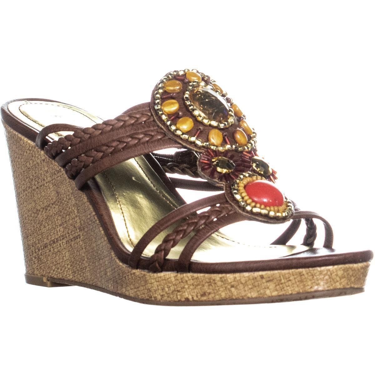 200cc1b80 Sc35 Elli Front Bejeweled Slip On Wedge Sandals ... Guess - Black Syona ...