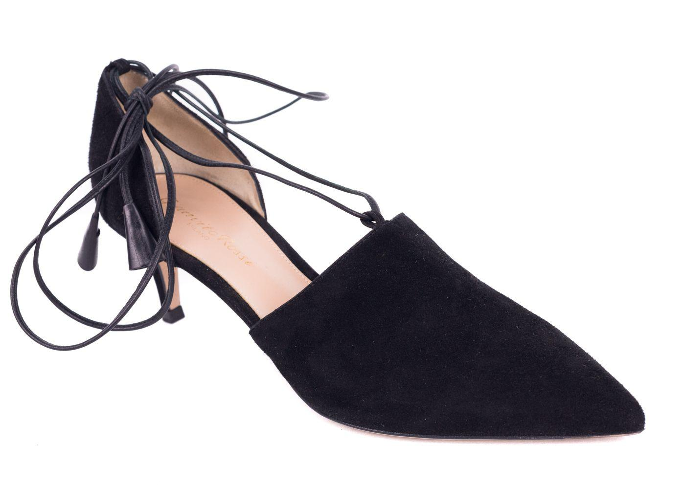 6f4ee46d8280 Lyst - Gianvito Rossi 70 Black Suede Lace Up Low Pumps in Blue